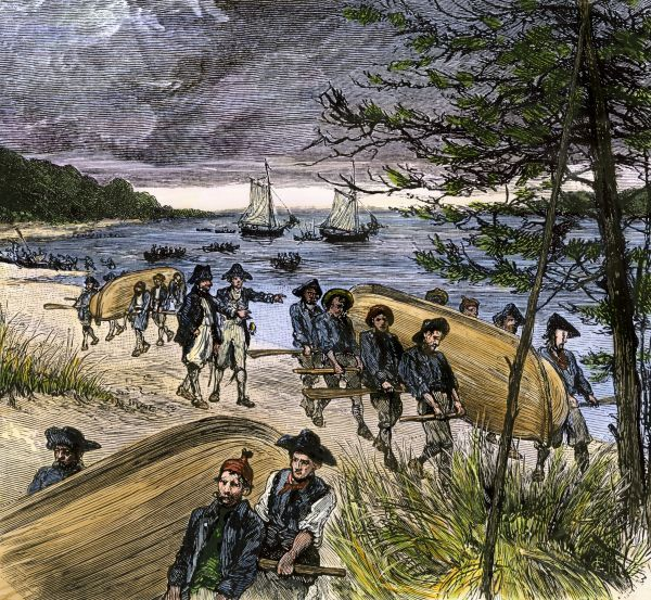 Rhode Island militia taking Sag Harbor, Long Island, from the British during the Revolutionary War. Hand-colored woodcut of a 19th-century illustration