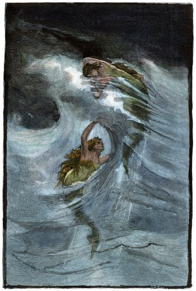 Mermaids. Two mermaids playing in the waves, 'a Nixie's legend.'