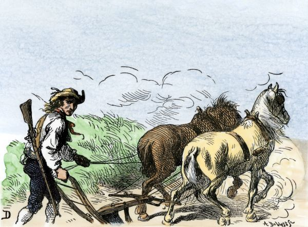 Minuteman plowing his field, armed and ready, American Revolution. Hand-colored woodcut of a 19th-century illustration
