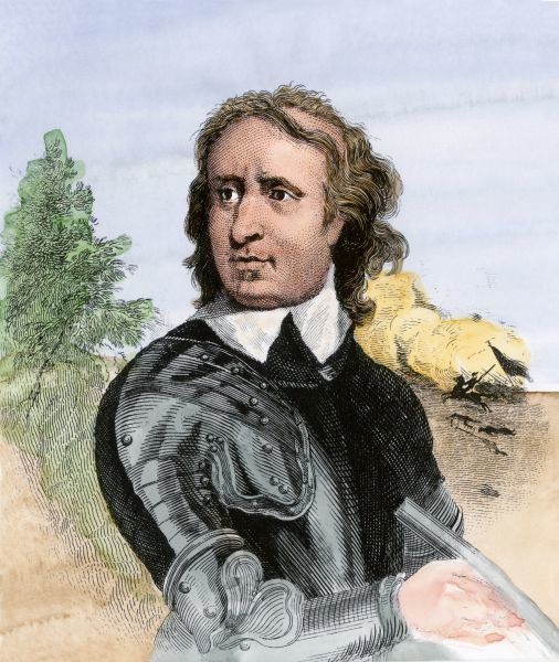 Puritan leader Oliver Cromwell during the English Civil War. Hand-colored engraving