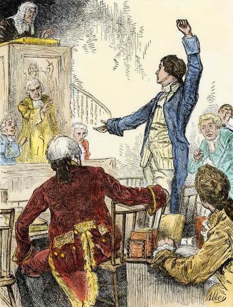 """Give me liberty or give me death"" speech of Patrick Henry in Viginia. Hand-colored woodcut of a 19th-century illustration"