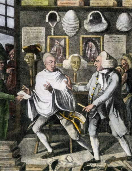 Patriotic barber of New York City ridiculing British officers by half-shaving them prior to the Revolutionary War. Hand-colored halftone reproduction of an illustration