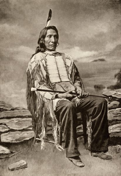 PNAT2P-00002. Red Cloud, or Mahpiua Luta, Oglala Sioux chief, in quilwork shirt, 1890s.
