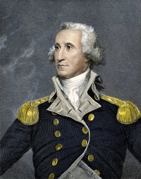 PPRE2A-00043. General George Washington.Hand-colored engraving from a painting by Trumbull