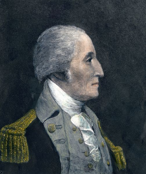 General George Washington. Hand-colored engraving from a portrait by James Wright
