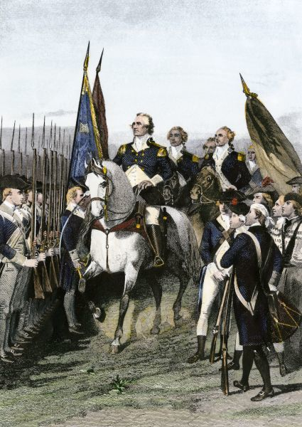 George Washington taking command of the Continental Army, American Revolution, July 1775. Hand-colored engraving of a 19th-century illustration