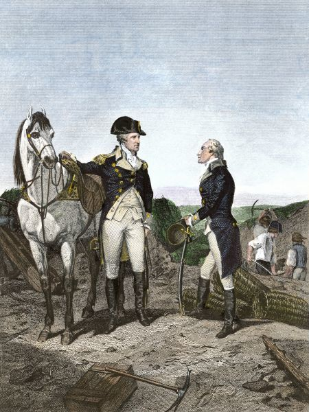 First meeting of George Washington and Alexander Hamilton, wearing Continental Army uniforms. Hand colored engraving of a 19th-century illustration