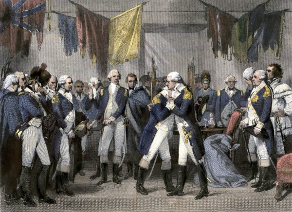 General Washington's farewell to his officers after the Revolutionary War, Fraunces Tavern, New York City. Hand-colored engraving of a painting