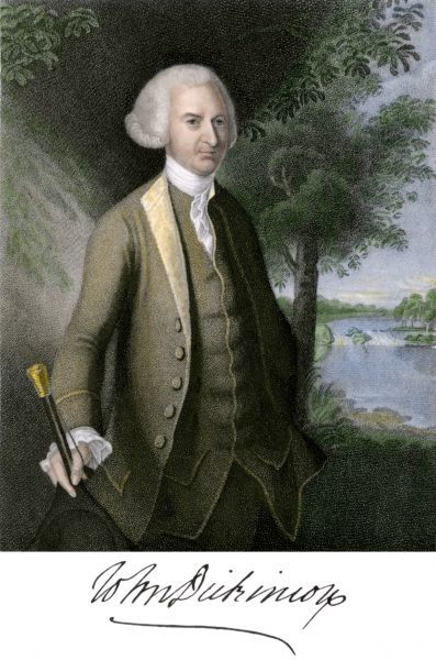 John Dickinson, with his autograph. Hand-colored engraving of a portrait by Charles Wilson Peale. 1770