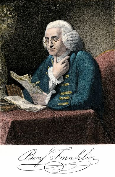 PREV2A-00004. Benjamin Franklin at his desk, with his signature.Hand-colored engraving
