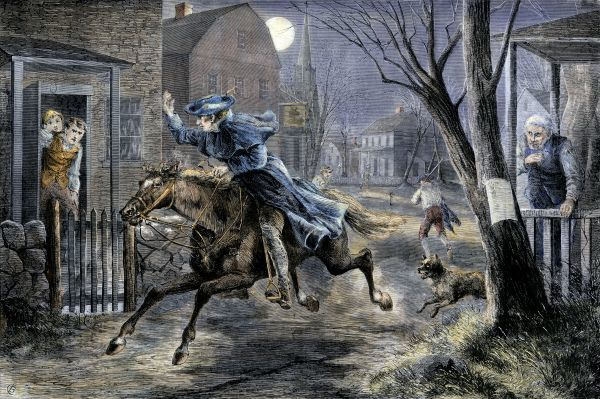 Paul Revere's ride to rouse Minutemen before the Battle of Lexington, April 19, 1775. Hand-colored engraving of a 19th-century illustration