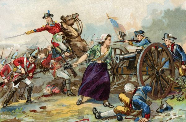 Moll Pitcher using a ramrod to help the Continental Army during the battle of Monmouth, Revolutionary War, 1778. Printed color lithograph of a 19th-century illustration