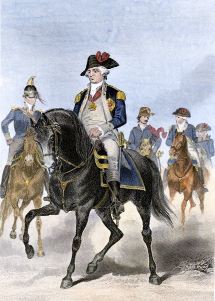 Baron von Steuben on horseback with other Continental Army officers at Valley Forge. Hand colored engraving of a painting