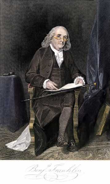 Benjamin Franklin, full portrait, seated, with his signature. Hand-colored engraving of a painting
