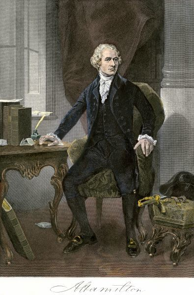 Alexander Hamilton at his desk, full portrait, with autograph. Hand-colored engraving of a painting
