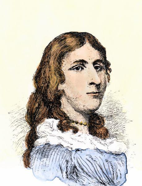 Deborah Sampson, who fought in the American Revolution disguised as Robert Shurtleff Hand-colored woodcut of a 19th-century illustration