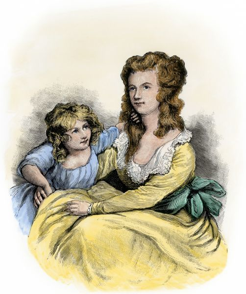 Margaret Shippen, wife of Benedict Arnold, and child. Hand-colored engraving of a portrait