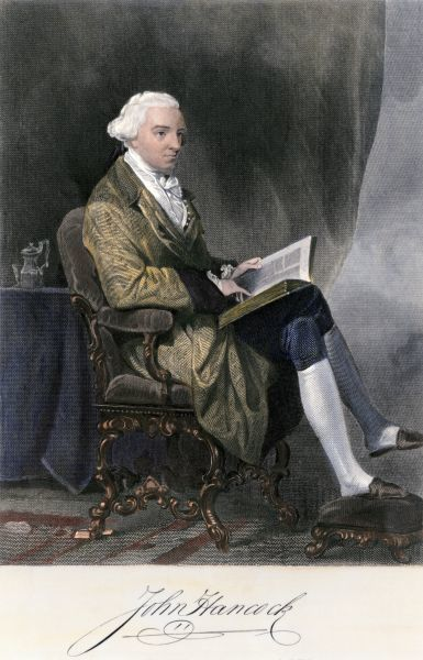 John Hancock, prominent signer of the Declaration of Independence, with his signature. Hand-colored engraving of a painting