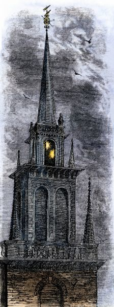 Two lanterns in the belfry of the Old North Church, the signal to Paul Revere to begin his midnight ride, 1775. Hand-colored woodcut of a 19th-century illustration for Longfellow's poem