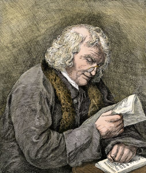 Benjamin Franklin reading. Hand-colored woodcut of a 19th-century illustration