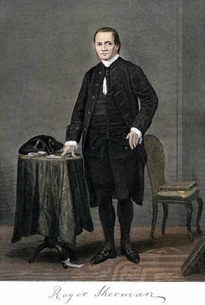 Roger Sherman, full portrait, with his signature. Hand-colored 19th-century engraving reproduction of a painting