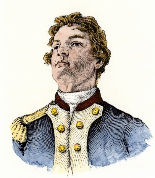 "Nathan Hale, who said, ""I regret I have but one life to give for my country,"" when hanged by the British as a spy. Hand-colored woodcut of a 19th-century illustration"