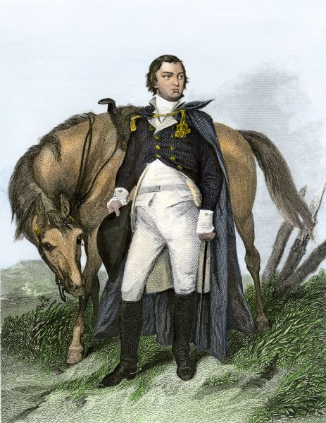 American General Nathanael Greene beside his horse. Hand-colored engraving of a painting