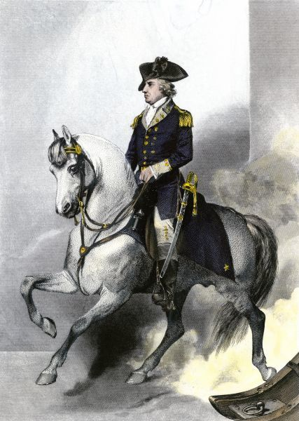 General Horatio Gates on horseback, American Revolution. Hand-colored engraving of a painting