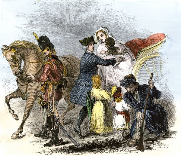Baroness von Riedesel and her children greeted by General Philip Schuyler at American camp where her Hessian officer husband was held. Hand-colored woodcut of a 19th-century illustration