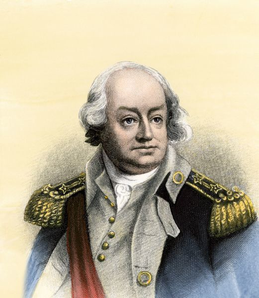 PREV2A-00117. American General Benjamin Lincoln.Hand-colored engraving of a portrait