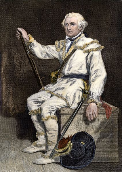 Continental Army General Daniel Morgan during the Revolutionary War. Hand-colored 19th-century engraving of a painting