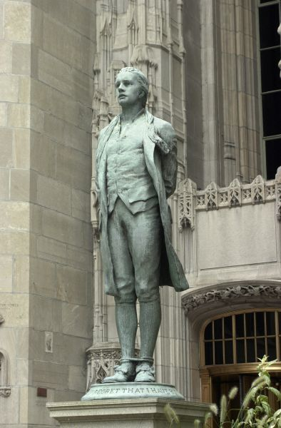 Nathan Hale statue outside the Chicago Tribune Building, North Michigan Avenue, Chicago, Illinois. Digital photograph