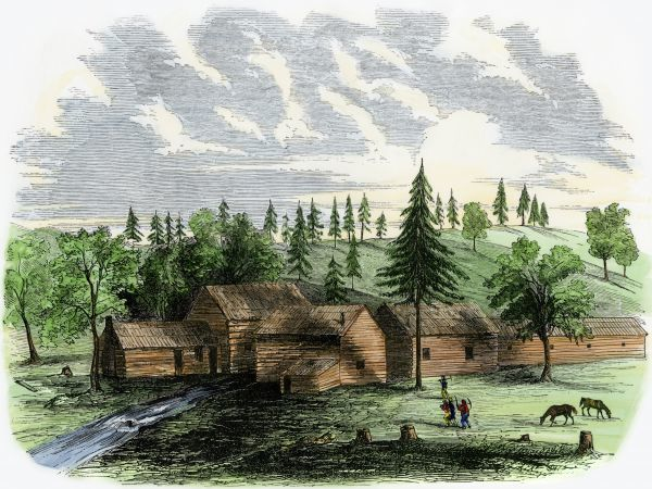 Miner's camp in Boston Ravine, Grass Valley, during the California Gold Rush, 1850s. Hand-colored woodcut of a 19th-century illustration