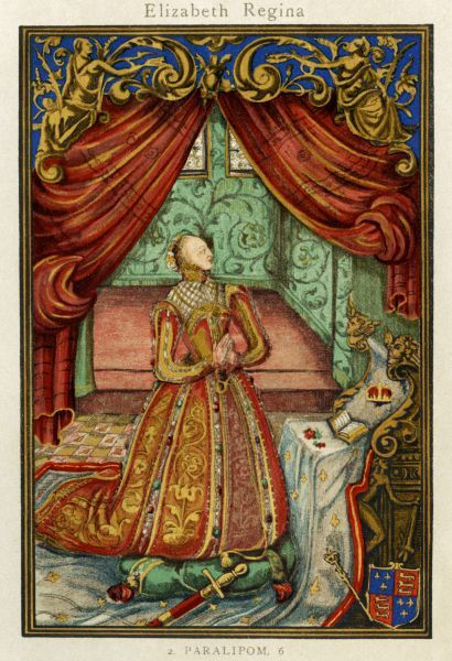 "Queen Elizabeth at prayer. Color lithograph reproduction of the frontispiece to ""Christian Prayers,"" 1569"