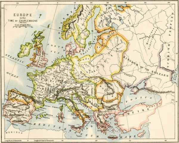 Map of Europe in the time of Charlemagne, 768-814 AD. Printed color lithograph, 19th century