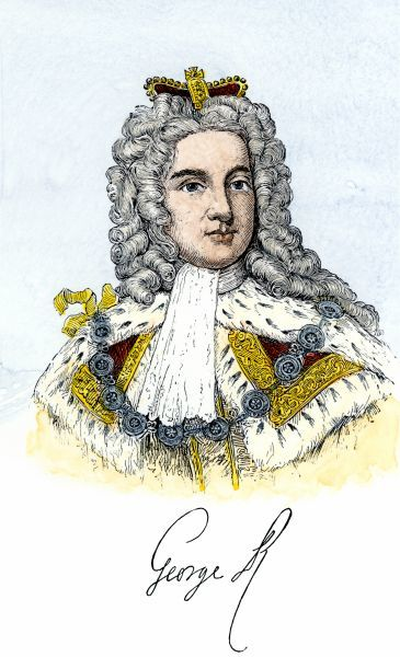George II, King of England, with his signature. Hand-colored woodcut of a 19th-century illustration
