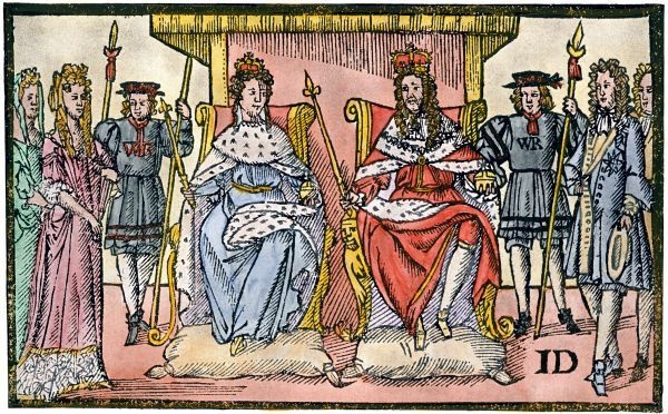 "William and Mary, ""the Protestants' Joy,"" ruling England after the Glorious Revolution, 1688. Hand colored halftone reproduction of a 17th-century illustration"