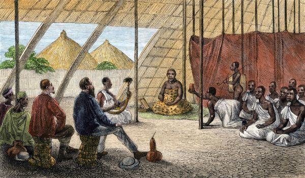 John Speke introduces James Grant to the Queen of Uganda. Hand-colored woodcut from Speke's Journal, 1864