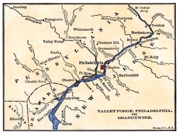 Map of the Philadelphia area, Valley Forge, and the Brandywine. Hand-colored woodcut of a 19th-century illustration