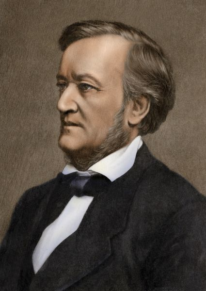 Photograph of composer Richard Wagner. Digitally tinted 19th-century photograph