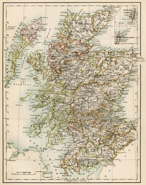 Scotland map, 1870s. Map of Scotland, 1870s.Printed color lithograph