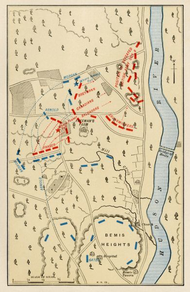 Map of the second battle at Freeman's Farm, part of the Saratoga battlefield, October 7, 1777. Printed color lithograph