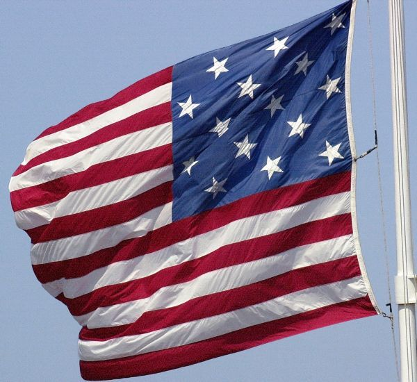 Fifteen-star US flag (1794-1819) over Fort Moultrie, Charleston, South Carolina. Digital photograph