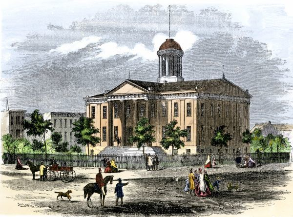 Illinois State House In Springfield, 1850s. Hand-colored woodcut of a 19th-century illustration