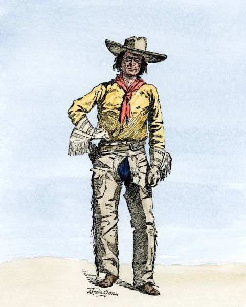 A Texas cowboy, 1800s. Hand-colored woodcut of a 19th-century Frederic Remington illustration