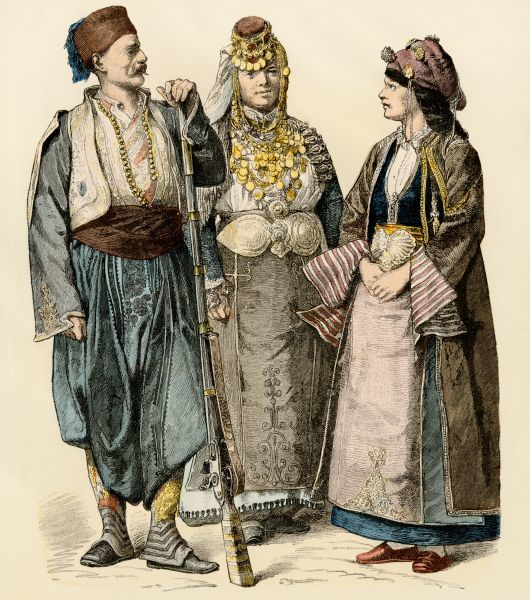 Tunisians from Monastir and a woman from Thessaly, Greece. Antique hand-colored print