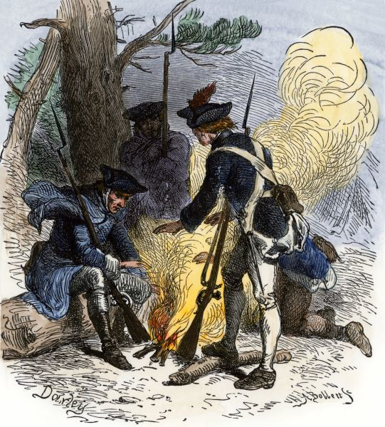 Dispirited American soldiers huddle around a campfire at Valley Forge. Hand-colored woodcut of a 19th-century illustration