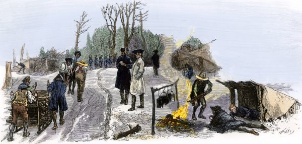 Continental soldiers at winter camp in Valley Forge, Revolutionary War. Hand-colored woodcut of a 19th-century illustration