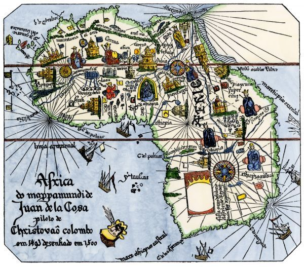 Africa as known after Vasco da Gama's discoveries, from map of Juan de la Cosa, 1500. Hand-colored woodcut reproduction