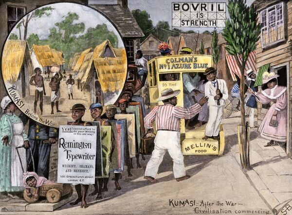 British view of how the Ashanti will live after English occupation, 1890s. Hand-colored halftone reproduction of a 19th-century illustration